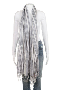 BARAY OCCIDENTAL Striped Silk Blend Fringe Scarf