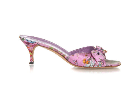 Gucci Satin Floral Print Slip On Heels Bow Size 6