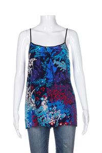 YUMI KIM Blue Abstract Print Silk Cami Top Size M