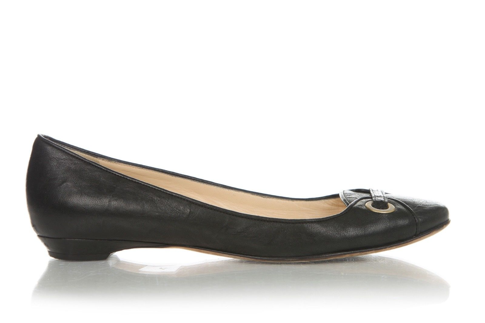 JIMMY CHOO Black Leather Flats With Brass Accent Size 39