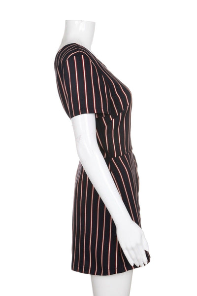 LUSH Navy Blue Red Pinstripe Short Romper With Low Back Size L