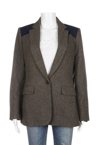 VERONICA BEARD Jacket Brown Blue Wool Blend Blazer Size 6