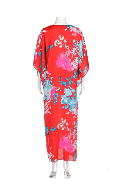 NATORI Printed Kaftan Maxi Dress Size S