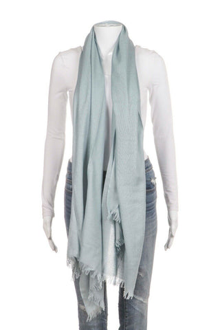 Blue 100% Cashmere Raw Edge Fringe Scarf