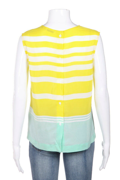 EQUIPMENT Yellow Striped Silk Blouse Size S