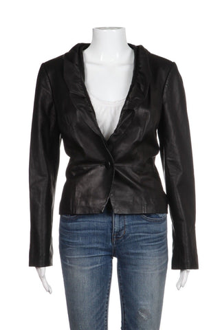 MILLY New York Black Ruffled Leather Jacket Size M