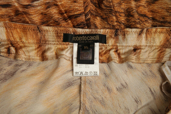 ROBERTO CAVALLI 100% Silk Animal Print Skirt Size XL
