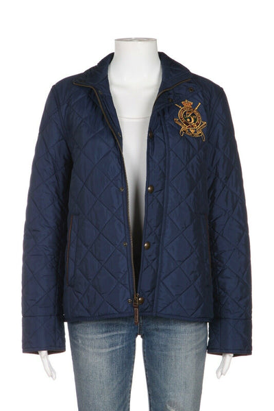 RALPH LAUREN SPORT Quilted Coat Gold Patch Size M