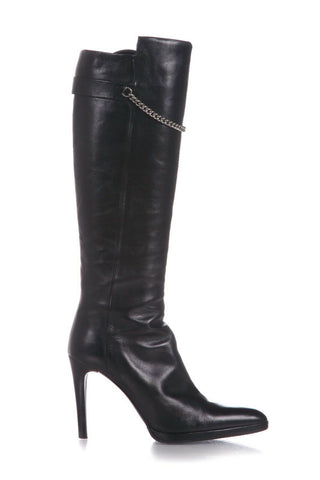 HELMUT LANG Leather Knee High Pointed Heeled Boots Silver Chain Size 38