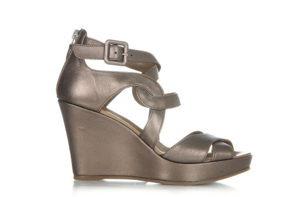 Taupe Metallic Wedge Sandal Heels Size 37