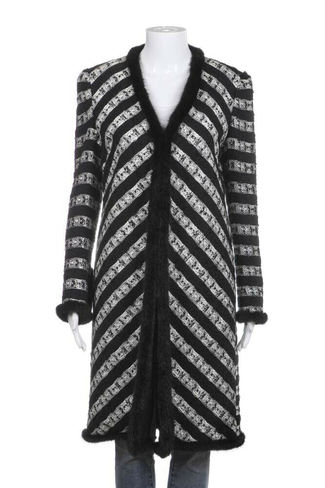 CHANEL Tweed Duster Jacket Fur Trim Size 40 (M)