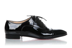 CHRISTIAN LOUBOUTIN Black Patent Leather Oxford Lace Up Shoes Size 8.5