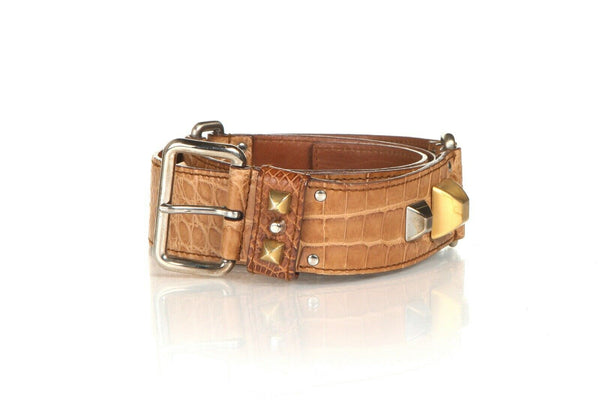 PRADA Studded Croc Leather Belt Size 34 (85cm)