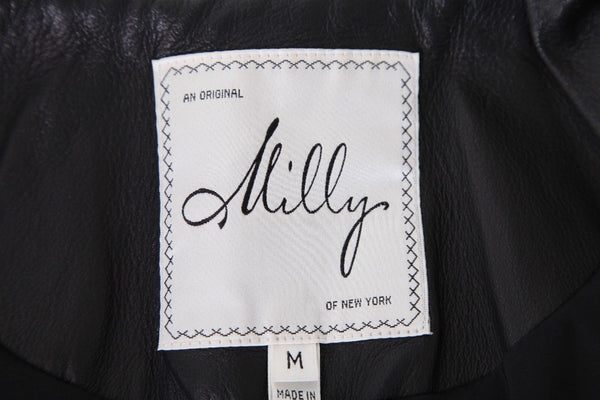 MILLY Ruffle Trim Leather Jacket Size M