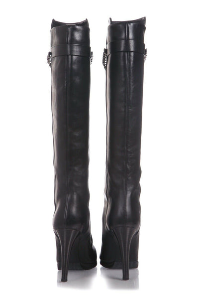 HELMUT LANG Leather Knee High Heeled Boots Silver Chain Size 38