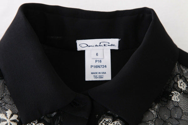OSCAR DE LA RENTA Sheer Flower Embroidered Blouse Size 6