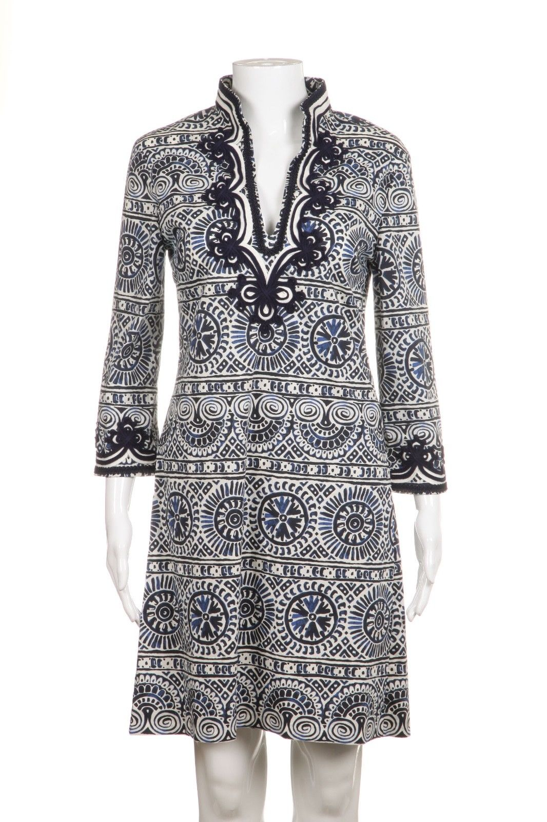 TORY BURCH Blue White Printed Embroidered Tunic Dress Size 2