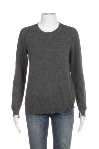 27 MILES MALIBU Gray Distressed 100% Cashmere Sweater Size S
