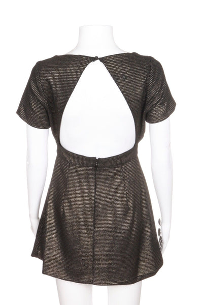KEEPSAKE The Label Mini Black Gold Metallic Skater Dress