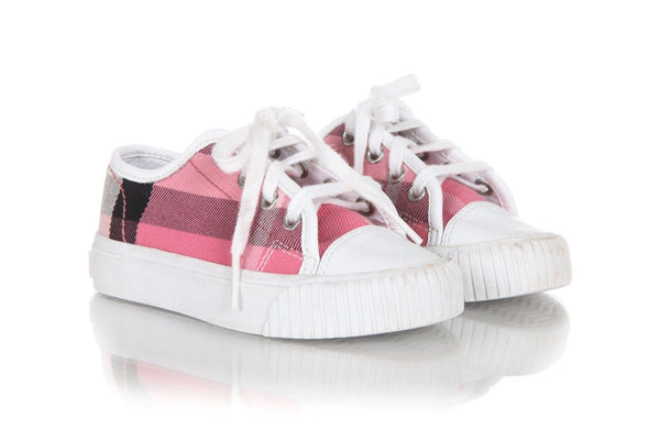 BURBERRY Toddler Girls Sneakers Pink White Shoes Size 8.5
