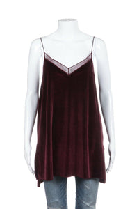 Dark Red Velour Velvet Cami Top Size L