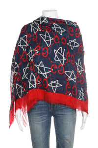 GUCCI Red Blue 2017 Ghost Star Scarf