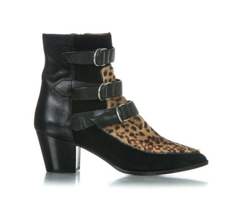 ISABEL MARANT Leather Ankle Boots Calf Hair Leopard Print Size 39