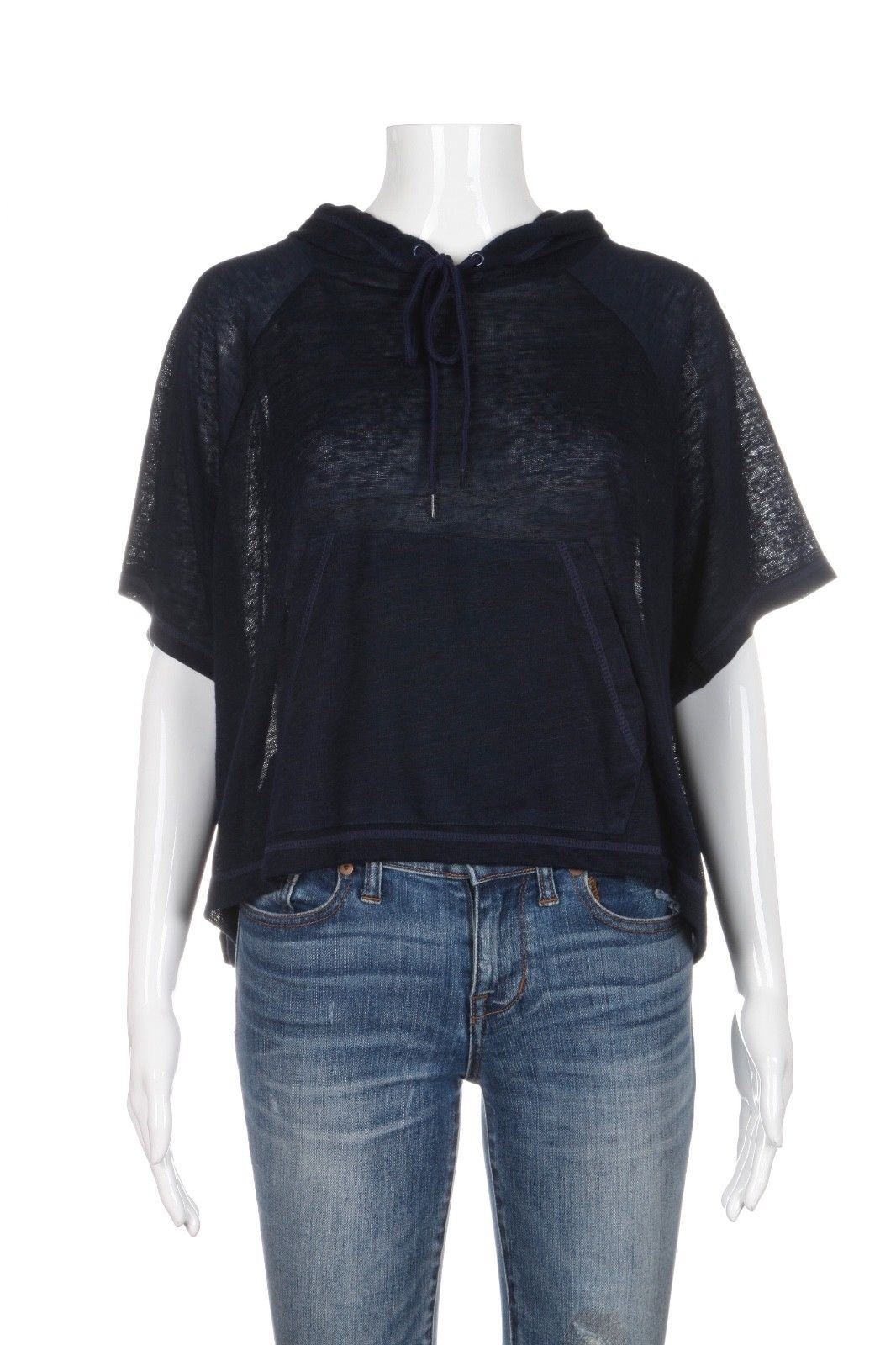 DYI Define Your Inspiration Navy Blue Sheer Hooded Tee Size M (New)
