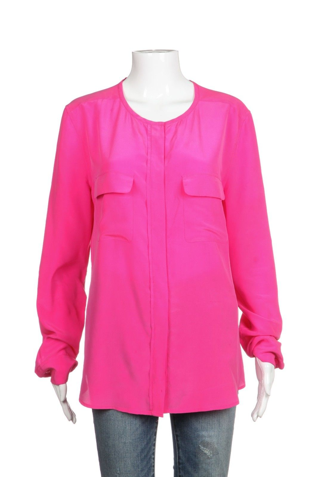 EQUIPMENT 100% Silk Long Sleeve Tunic Blouse Top Size L