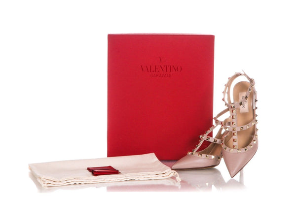 VALENTINO Ruckstud Nude Gold Studded Heels Size 36 (New)