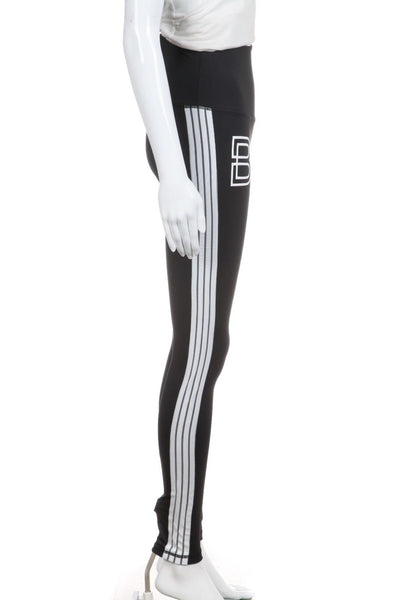 DYI Black White Striped Athletic Leggings Yoga Pants Size S