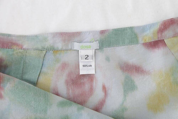 DOSA Watercolor Floral Straight Skirt Silk Size 2