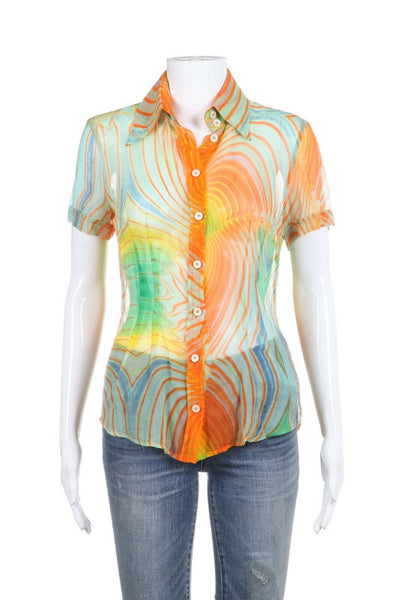 DOLCE & GABBANA Orange Abstract Print 100% Silk Blouse Size IT40