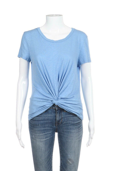 Blue Short Sleeve Knotted Tee Size S