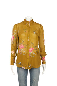 JOIE 100% Silk Button Up Mock Neck Blouse Size XS (New)