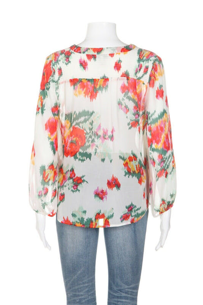 JOIE 100% Silk Floral Blouse Size XS
