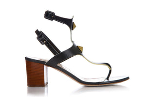 Valentino Rockstud Sandals Heels Black Gold Block