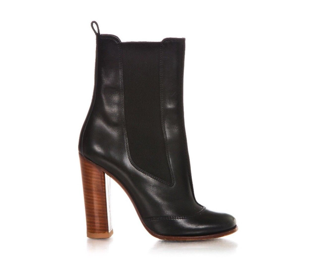 Celine Black Leather Boots Elastic Wood Block Heel Size 37 Style