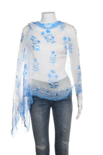 Blue White Floral Soft Modal Scarf