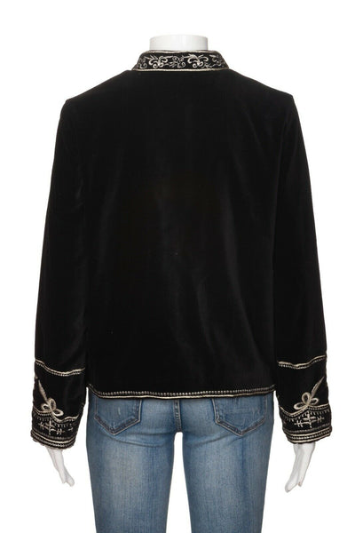 ZARA Velvet Embroidered Coat Size M