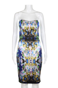 MAGGY LONDON Abstract Printed Strapless Cocktail Dress Size 2