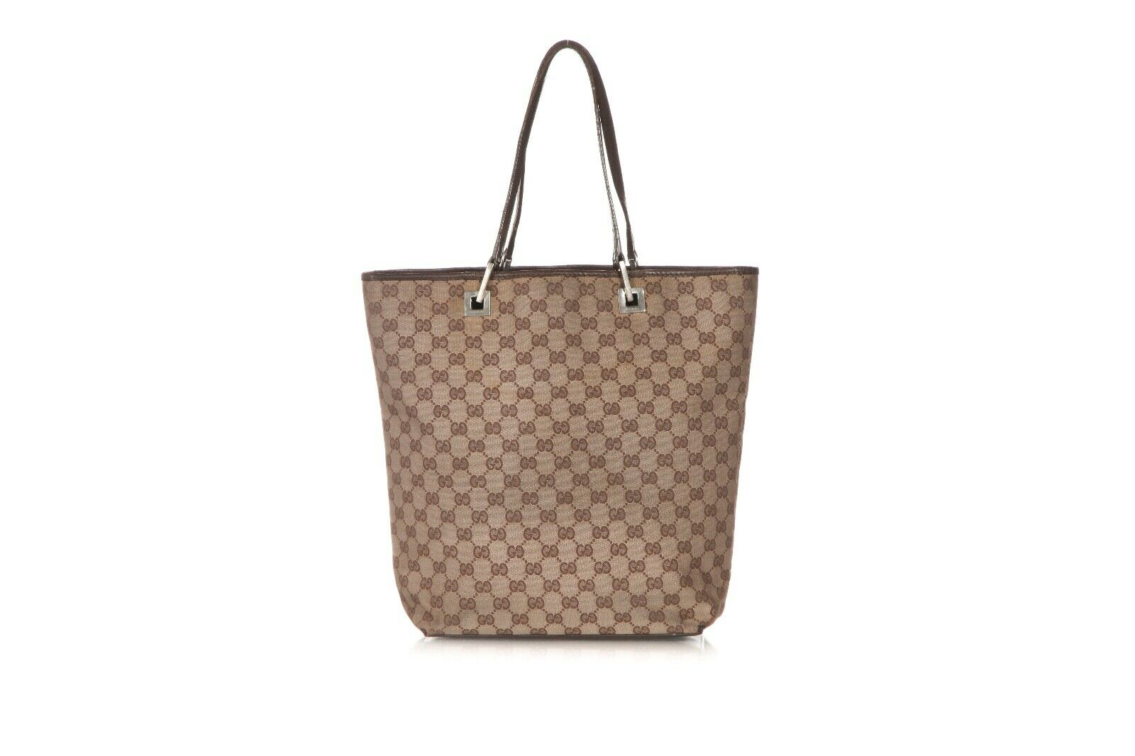 GUCCI Vintage Canvas Logo Tote Bag Leather Trim