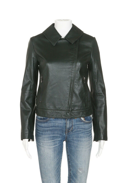 TORY BURCH Short Zip Up Leather Jacket Size 4