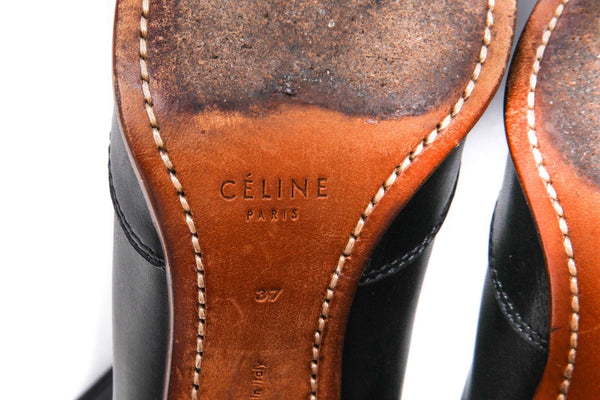CELINE Leather Boots Elastic Wood Block Heel Size 37