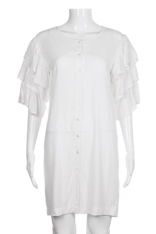 AMERICAN GOLD White Flutter Sleeve Shirt Dress Size M