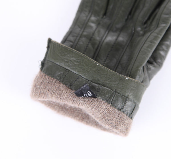 FACONNABLE Olive Green Leather Driving Gloves Cashmere Lined Size 7