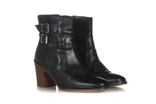 J.CREW Leather Block Heel Boots Size 9