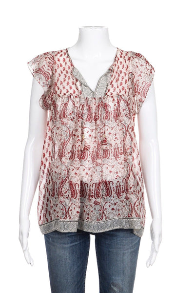 ULLA JOHNSON Georgette Nimes Silk Red Paisley Print Tassel Top Size 4 (New)