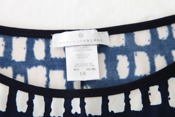 PAPILLON BLANC Shift Dress Blue White Print Size L