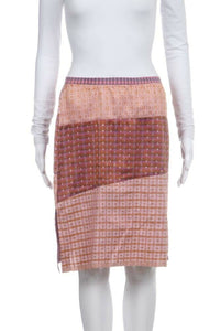 Orange, Pink Purple Geo Print Straight Skirt Silk Size 2